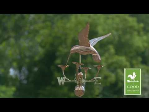 Good Directions 913P Hummingbird With Flowers Weathervane - Polished Copper