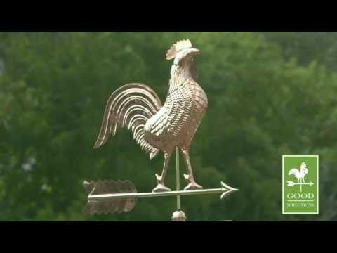"Good Directions 515P 27"" Rooster Weathervane - Polished Copper"