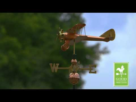 Good Directions 9521P Biplane Weathervane - Polished Copper