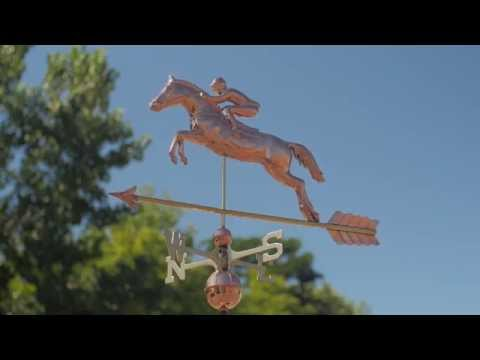Good Directions 1912P Jumping Horse and Rider Weathervane - Polished Copper