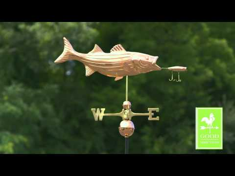 Good Directions 9602P Bass With Lure Weathervane - Polished Copper