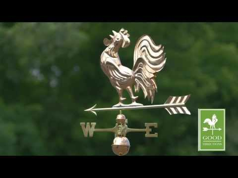 Good Directions 637P Crowing Rooster Weathervane - Polished Copper