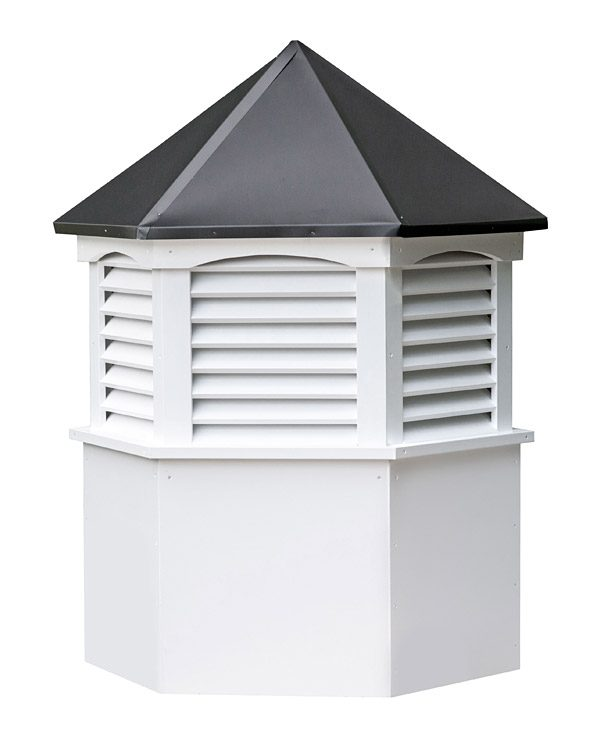 hexagon vinyl cupola with louvers and straight aluminum roof