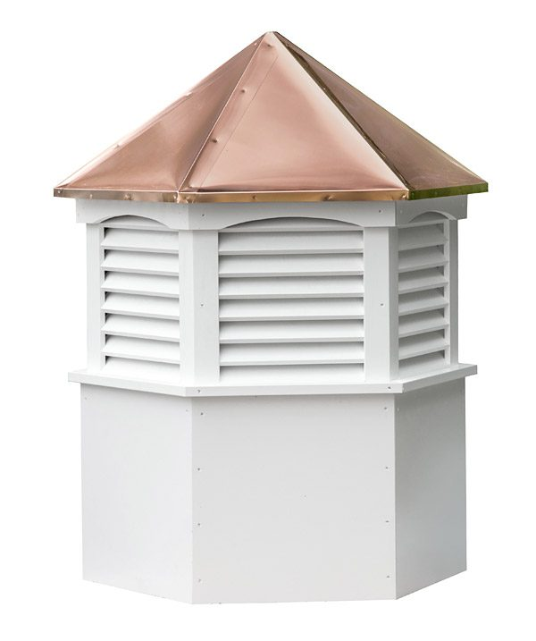 hexagon vinyl cupola with louvers and straight copper roof