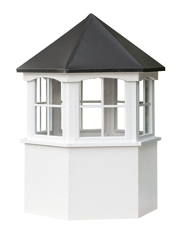 hexagon vinyl cupola with windows and straight aluminum roof