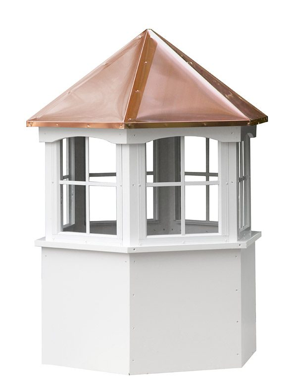hexagon vinyl cupola with windows and straight copper roof