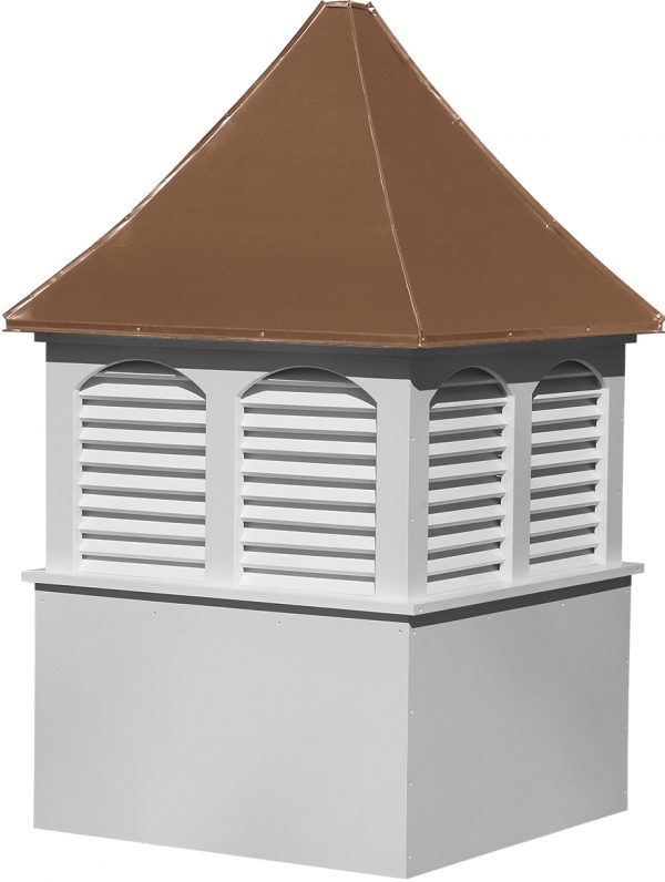 large square vinyl cupola with louvers and concave copper roof