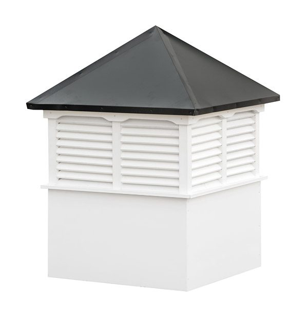large square vinyl cupola with louvers and straight aluminum roof