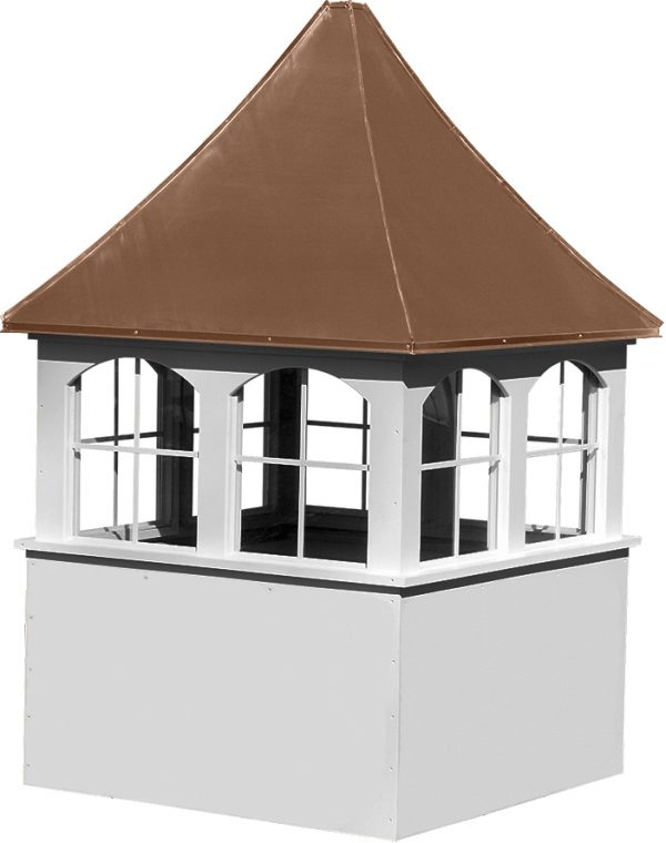 large square vinyl cupola with windows and concave copper roof