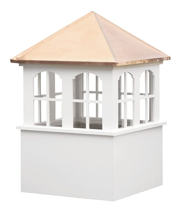 large square vinyl cupola with windows and straight copper roof