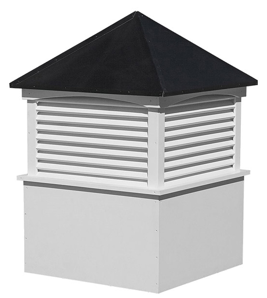 medium square vinyl cupola with louvers and straight aluminum roof