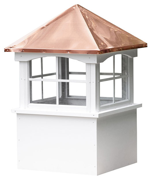medium square vinyl cupola with windows and straight copper roof