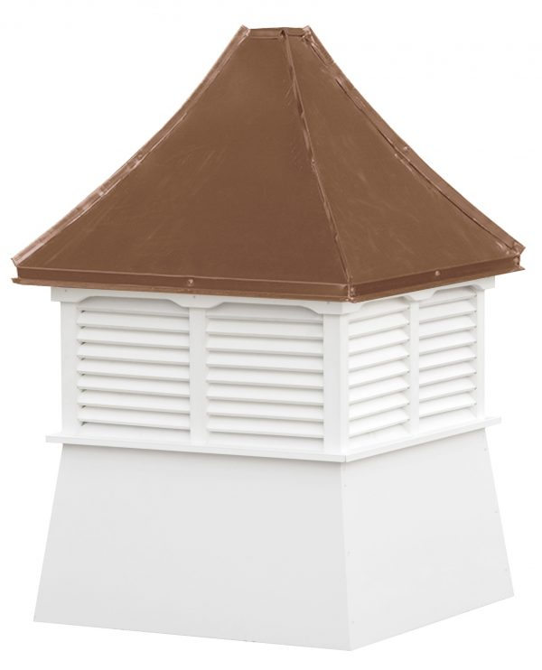 small square vinyl cupola with louvers and concave copper roof
