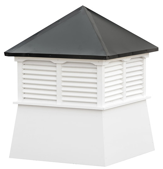 small square vinyl cupola with louvers and straight aluminum roof