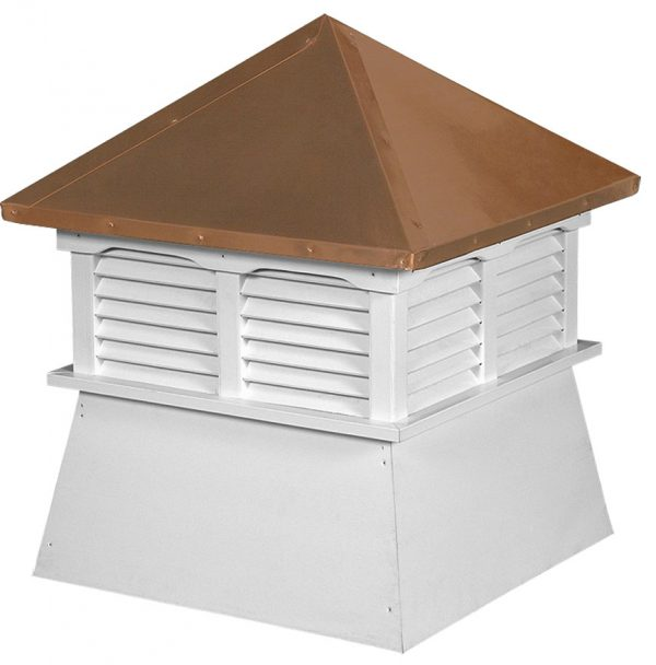 small square vinyl cupola with louvers and straight copper roof
