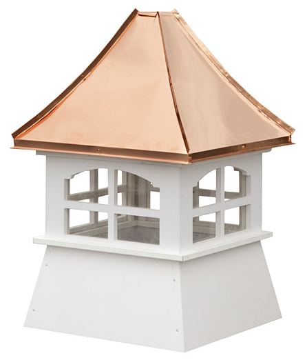small square vinyl cupola with windows and concave copper roof