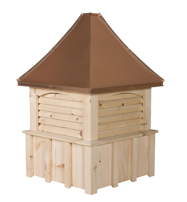 square white pine cupola with louvers and concave copper roof