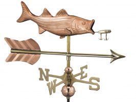 8847par bass with lure and arrow cottage weathervane pure copper