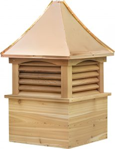concave copper roof with cedar wood