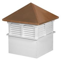 large square vinyl cupola with louvers and straight copper roof