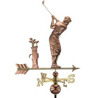 561P golfer weathervane polished copper