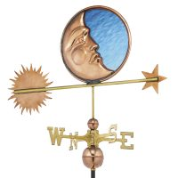 678P stained glass moon weathervane polished copper