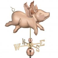 9612P flying pig weathervane polished copper
