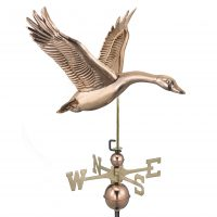 9663P feathered goose weathervane polished copper