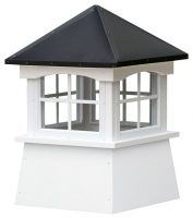 small square vinyl cupola with windows and straight aluminum roof