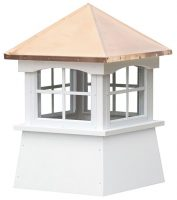 small square vinyl cupola with windows and straight copper roof