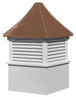medium square vinyl cupola with louvers and concave copper roof