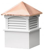 medium square vinyl cupola with louvers and straight copper roof