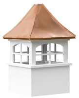 medium square vinyl cupola with windows and concave copper roof