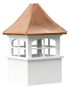 medium square vinyl cupola with windows and concave copper roof