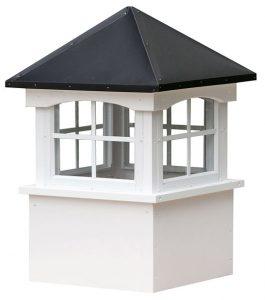 medium square vinyl cupola with windows and straight aluminum roof