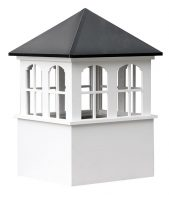 large square vinyl cupola with windows and straight aluminum roof