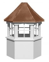 hexagon vinyl cupola with windows and concave copper roof