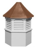 hexagon vinyl cupola with louvers and concave copper roof