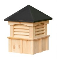square white pine cupola with louvers and straight aluminum roof