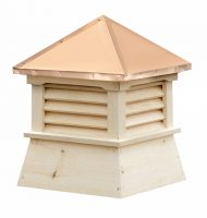 square white pine cupola with louvers and straight copper roof