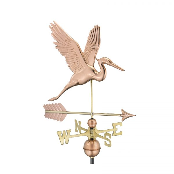 1971pa graceful blue heron with arrow weathervane pure copper
