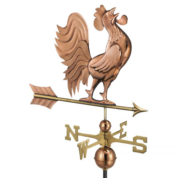 637P crowing rooster weathervane polished copper