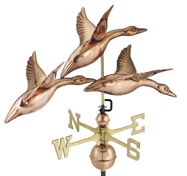 657P geese in flight weathervane polished copper