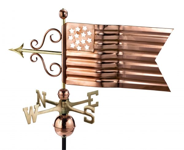 667P american flag weathervane polished copper