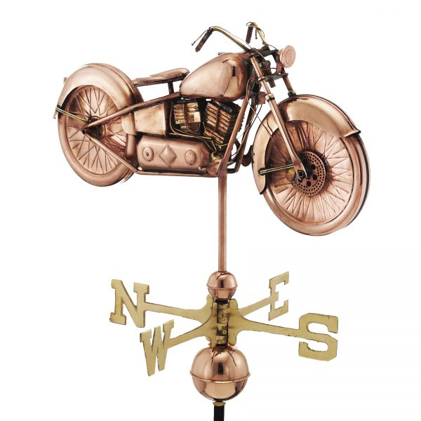 669P motorcycle weathervane polished copper