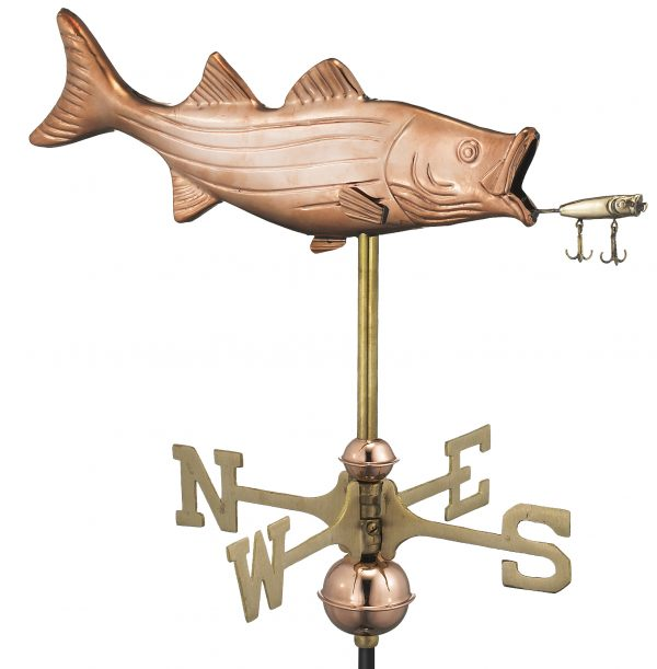 8847pr bass with lure cottage weathervane pure copper