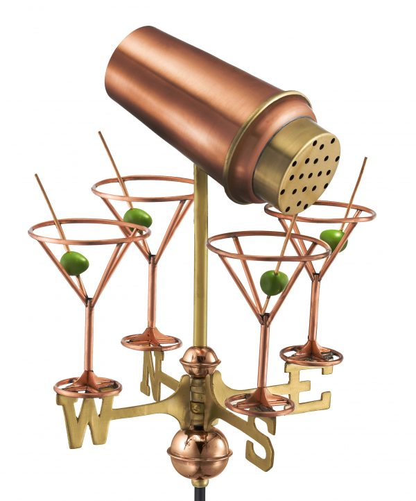 8861pr martini with glasses cottage weathervane pure copper