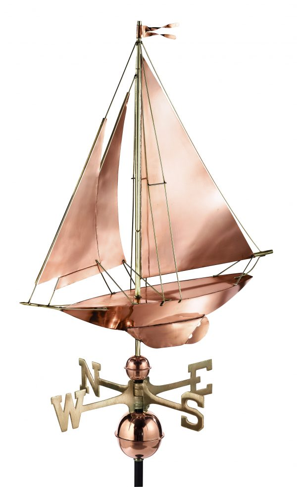 909P racing sloop weathervane polished copper