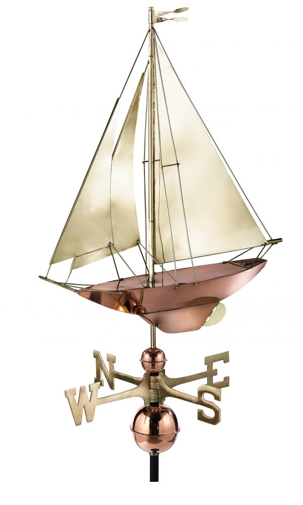 909b racing sloop weathervane pure copper with brass sail
