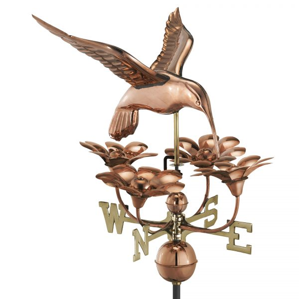 913P hummingbird with flowers weathervane polished copper